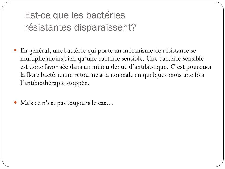 Est-ce que les bactéries résistantes disparaissent? En général, une bactérie qui porte un mécanisme de résistance se multiplie moins bien quune bactér