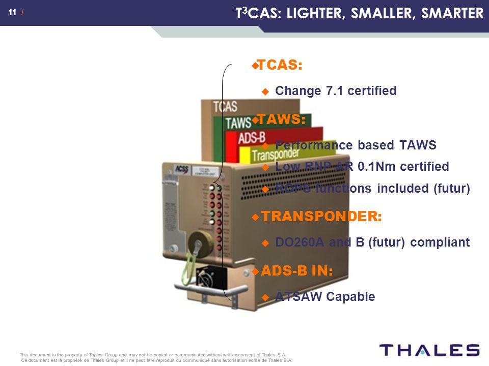 11 / Ce document est la propriété de Thales Group et il ne peut être reproduit ou communiqué sans autorisation écrite de Thales S.A.