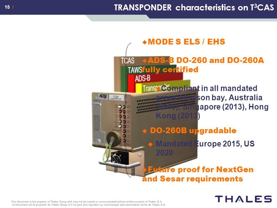 15 / Ce document est la propriété de Thales Group et il ne peut être reproduit ou communiqué sans autorisation écrite de Thales S.A. This document is
