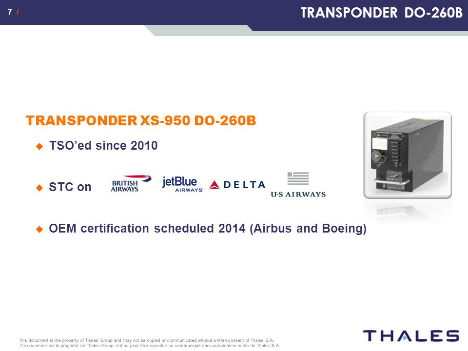 www.thalesgroup.com THALES AVIONICS/ASW – April 2012 T 3 CAS Upgrading your existing aircraft to T 3 CAS
