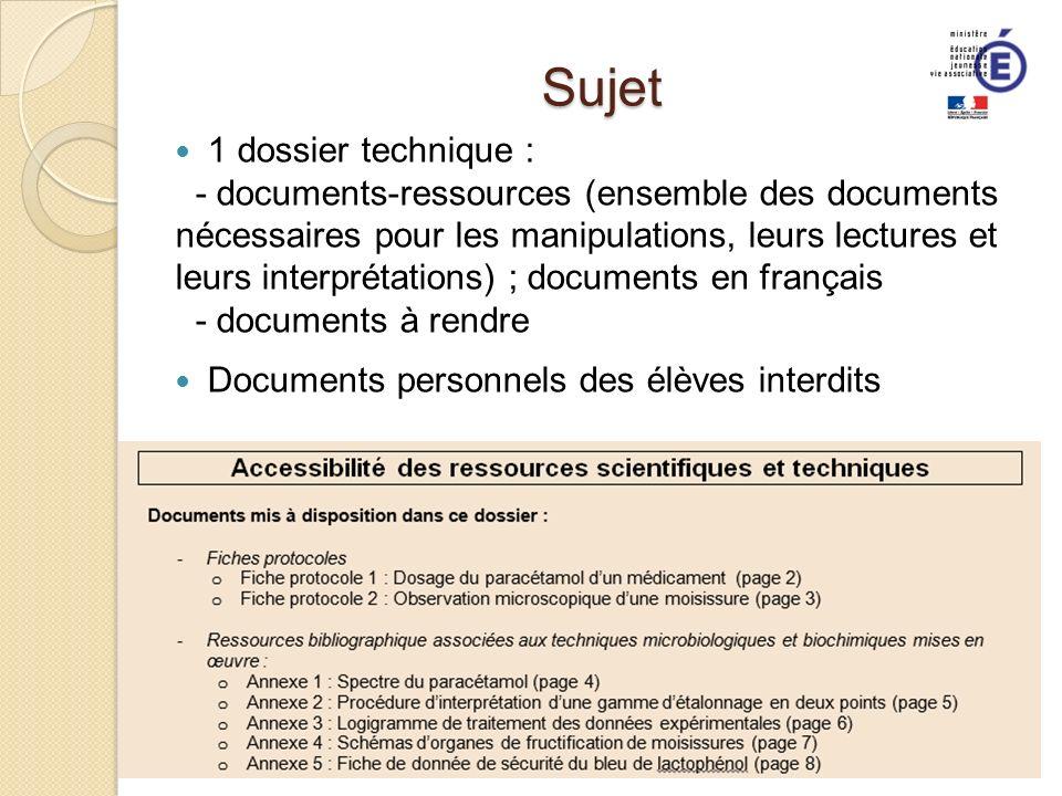 Sujet 1 dossier technique : - documents-ressources (ensemble des documents nécessaires pour les manipulations, leurs lectures et leurs interprétations