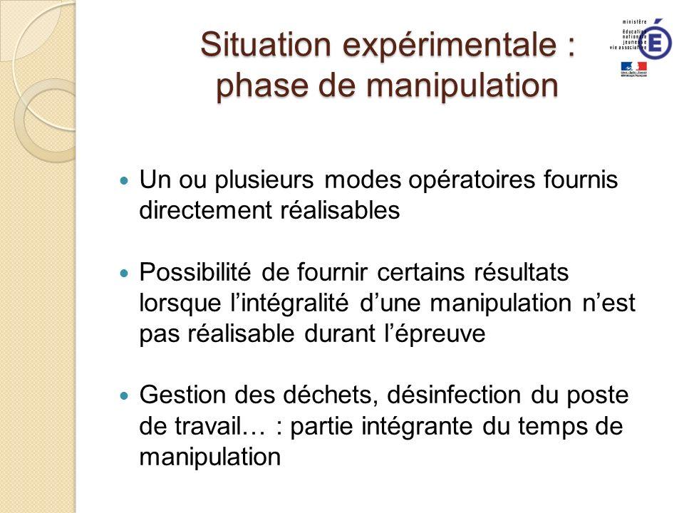Situation expérimentale : phase de manipulation Un ou plusieurs modes opératoires fournis directement réalisables Possibilité de fournir certains résu
