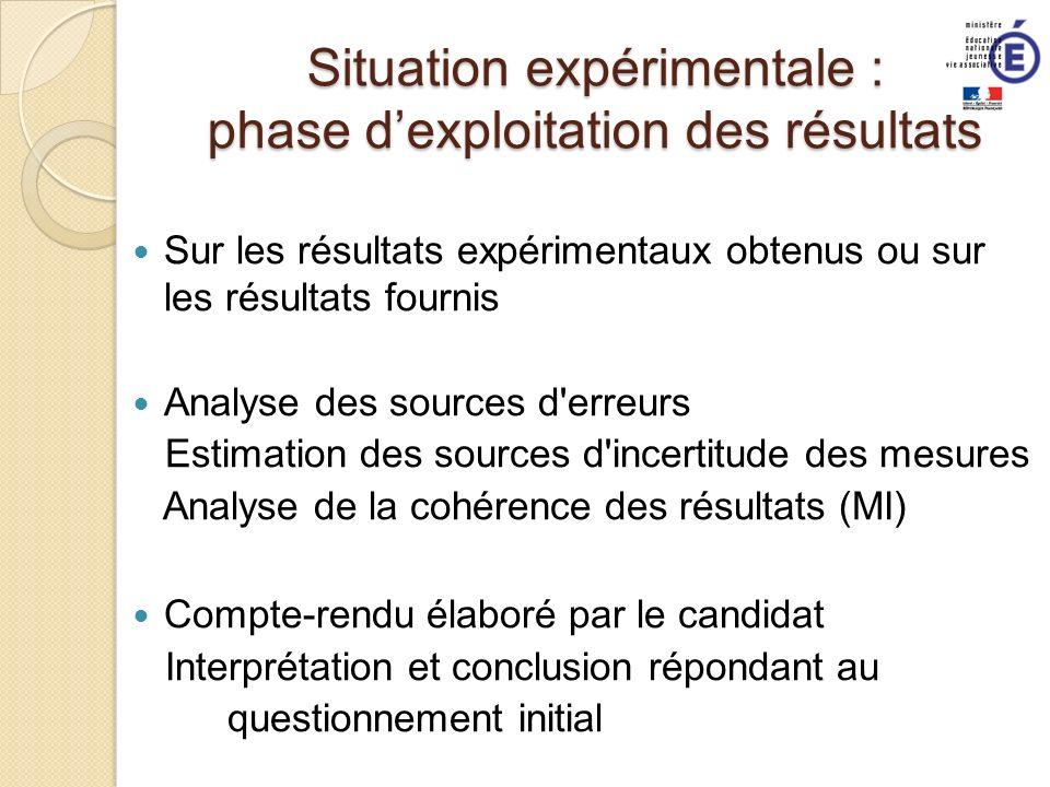 Situation expérimentale : phase dexploitation des résultats Sur les résultats expérimentaux obtenus ou sur les résultats fournis Analyse des sources d