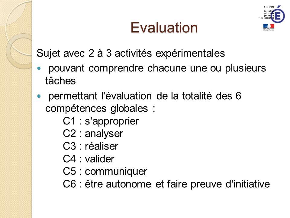 Evaluation Sujet avec 2 à 3 activités expérimentales pouvant comprendre chacune une ou plusieurs tâches permettant l'évaluation de la totalité des 6 c