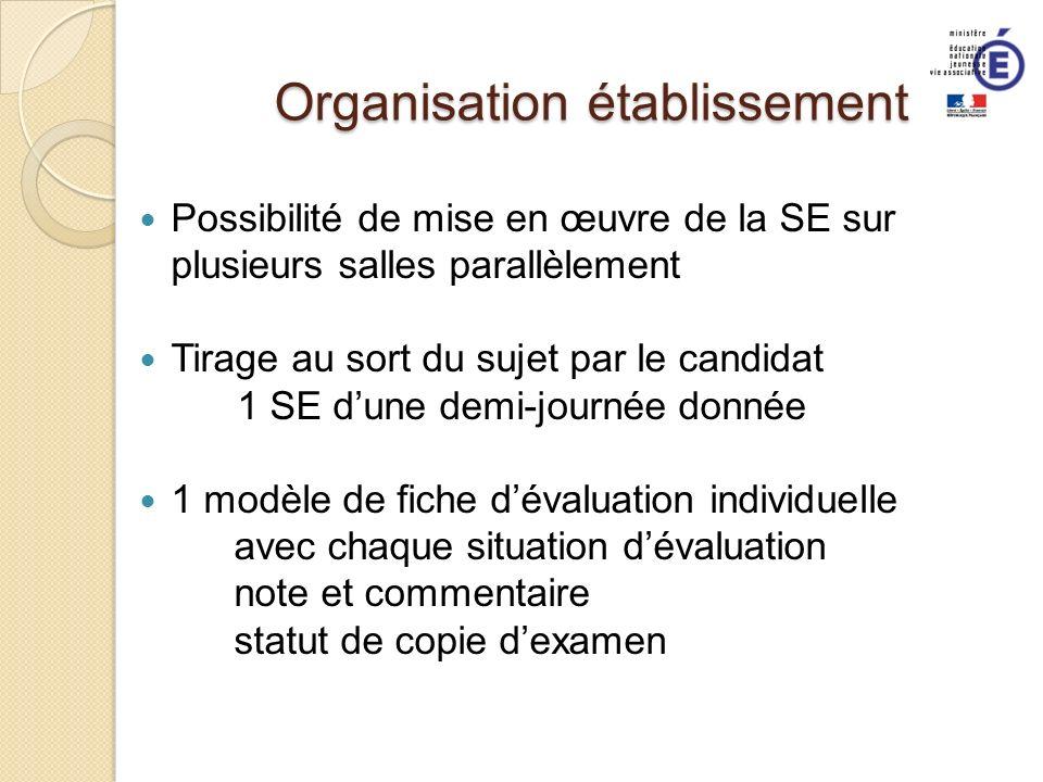 Organisation établissement Possibilité de mise en œuvre de la SE sur plusieurs salles parallèlement Tirage au sort du sujet par le candidat 1 SE dune