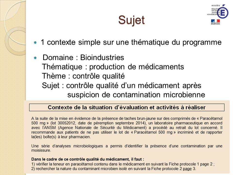 Sujet 1 contexte simple sur une thématique du programme Domaine : Bioindustries Thématique : production de médicaments Thème : contrôle qualité Sujet