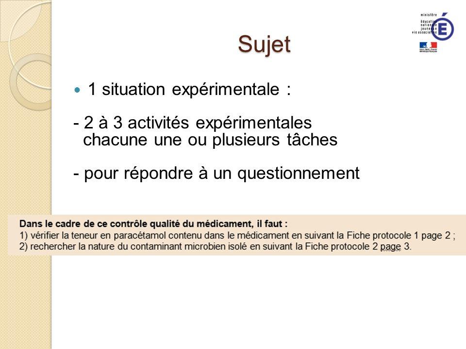 Sujet 1 situation expérimentale : - 2 à 3 activités expérimentales chacune une ou plusieurs tâches - pour répondre à un questionnement