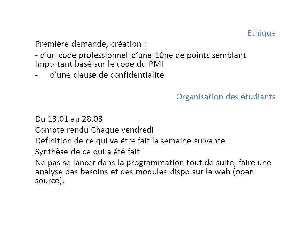 Ethique Première demande, création : - dun code professionnel dune 10ne de points semblant important basé sur le code du PMI -dune clause de confident