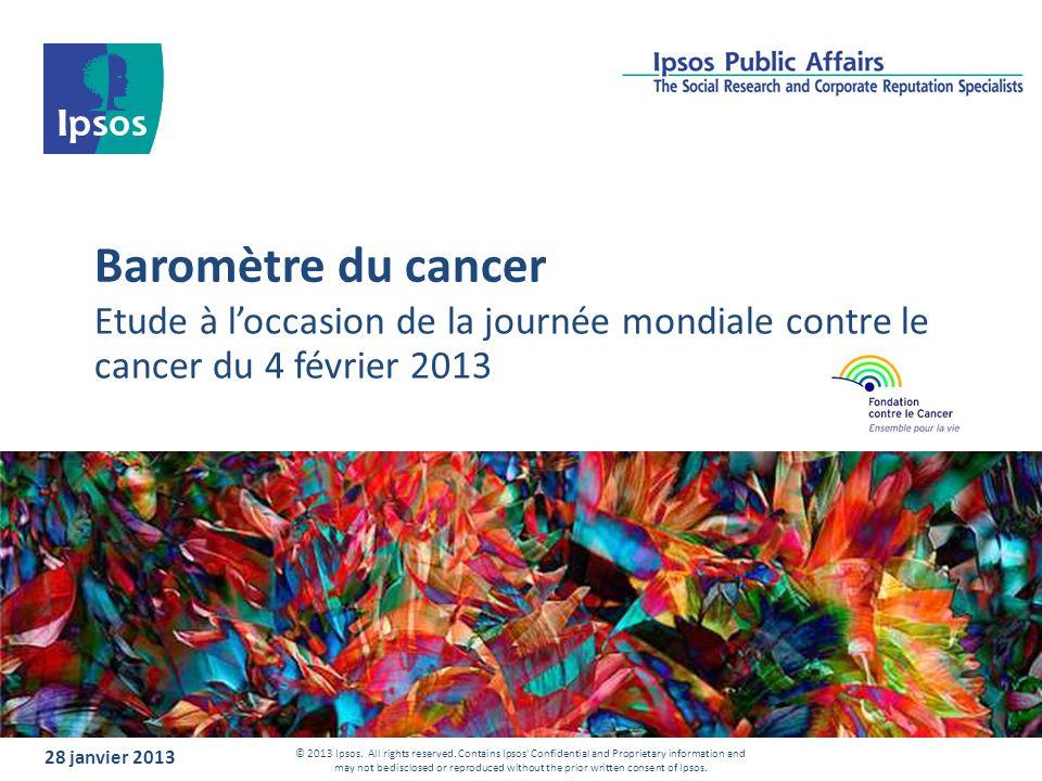Baromètre du cancer Etude à loccasion de la journée mondiale contre le cancer du 4 février 2013 28 janvier 2013 © 2013 Ipsos. All rights reserved. Con