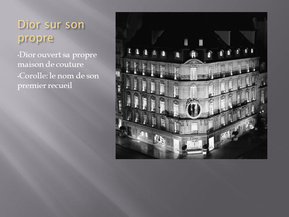 Le style et mort de Dior Dior célèbre pour son silhouettes et formes uniques Son style inclus: Un style bustier Rembourragge haunche Corsets Jupons Dior a mourut en vacances en Italie le 23 Octobre 1957