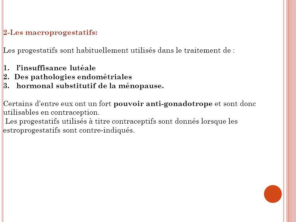 2-Les macroprogestatifs: Les progestatifs sont habituellement utilisés dans le traitement de : 1.