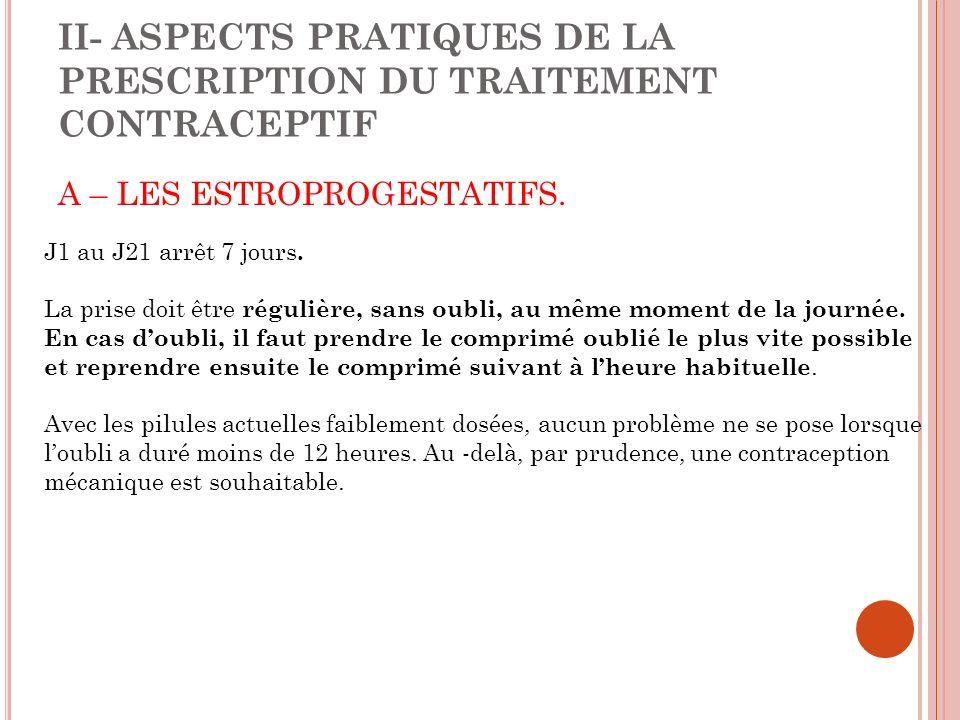 II- ASPECTS PRATIQUES DE LA PRESCRIPTION DU TRAITEMENT CONTRACEPTIF A – LES ESTROPROGESTATIFS.
