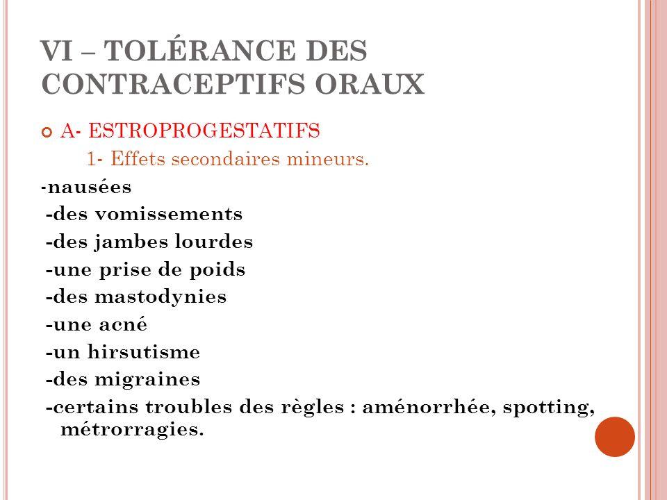 VI – TOLÉRANCE DES CONTRACEPTIFS ORAUX A- ESTROPROGESTATIFS 1- Effets secondaires mineurs.