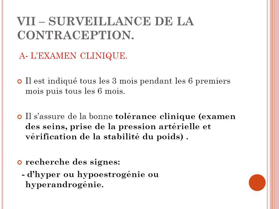 VII – SURVEILLANCE DE LA CONTRACEPTION.A- LEXAMEN CLINIQUE.