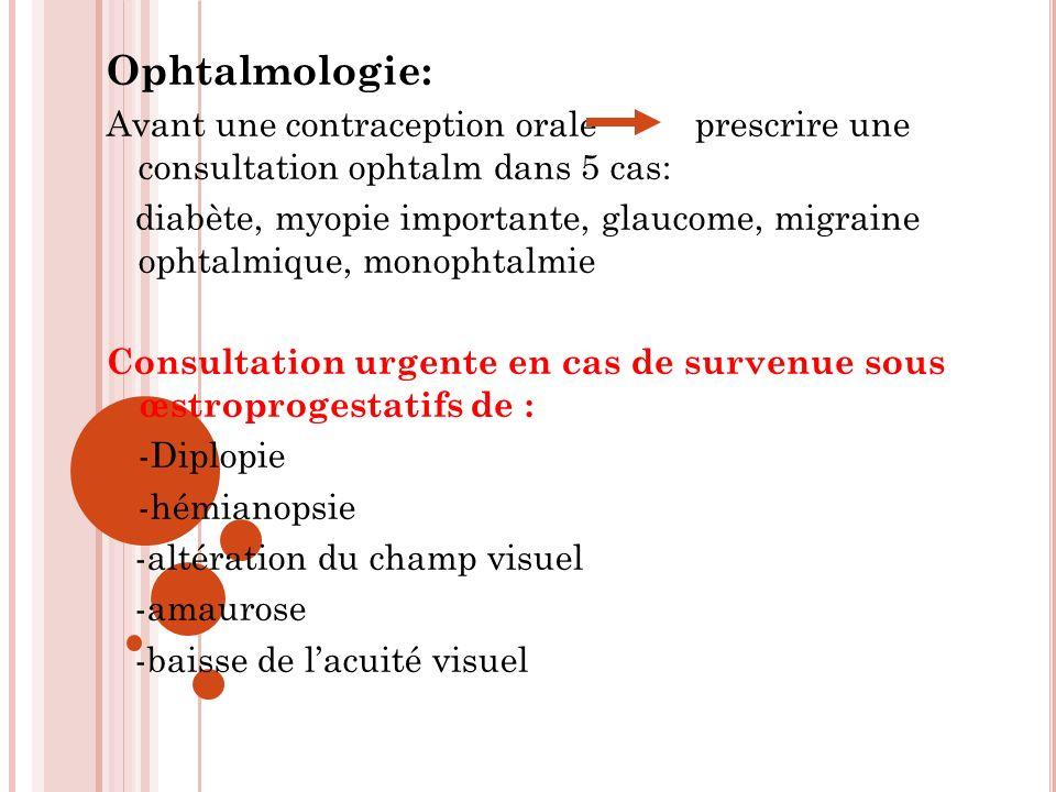 Ophtalmologie: Avant une contraception orale prescrire une consultation ophtalm dans 5 cas: diabète, myopie importante, glaucome, migraine ophtalmique, monophtalmie Consultation urgente en cas de survenue sous œstroprogestatifs de : -Diplopie -hémianopsie -altération du champ visuel -amaurose -baisse de lacuité visuel