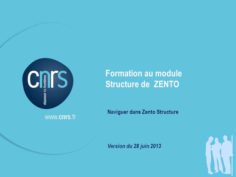 Zento STRUCTURE Objectifs - Version du 28 juin 2013 Formation au module Structure de ZENTO Naviguer dans Zento Structure Version du 28 juin 2013