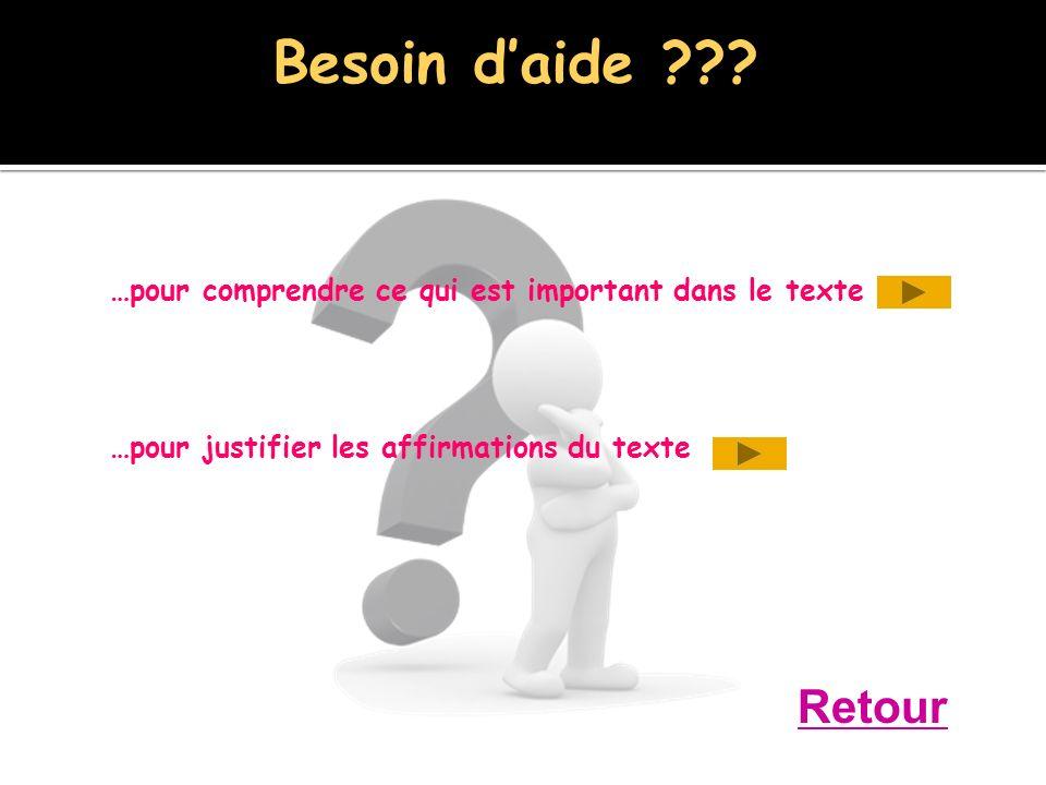 …pour comprendre ce qui est important dans le texte …pour justifier les affirmations du texte Retour Besoin daide ???
