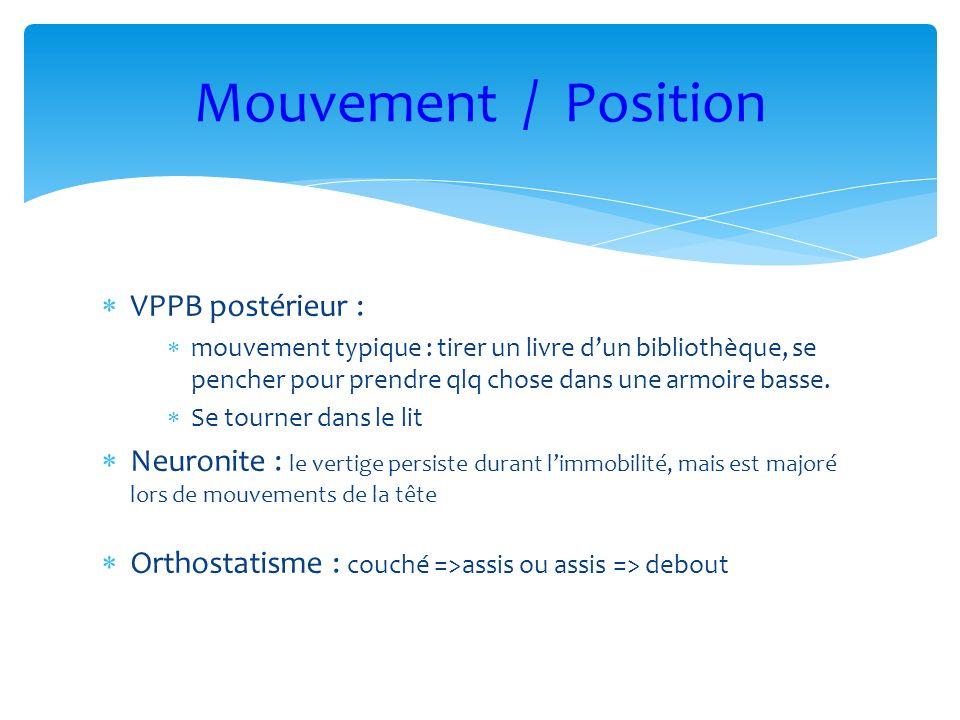 VPPB postérieur : mouvement typique : tirer un livre dun bibliothèque, se pencher pour prendre qlq chose dans une armoire basse. Se tourner dans le li