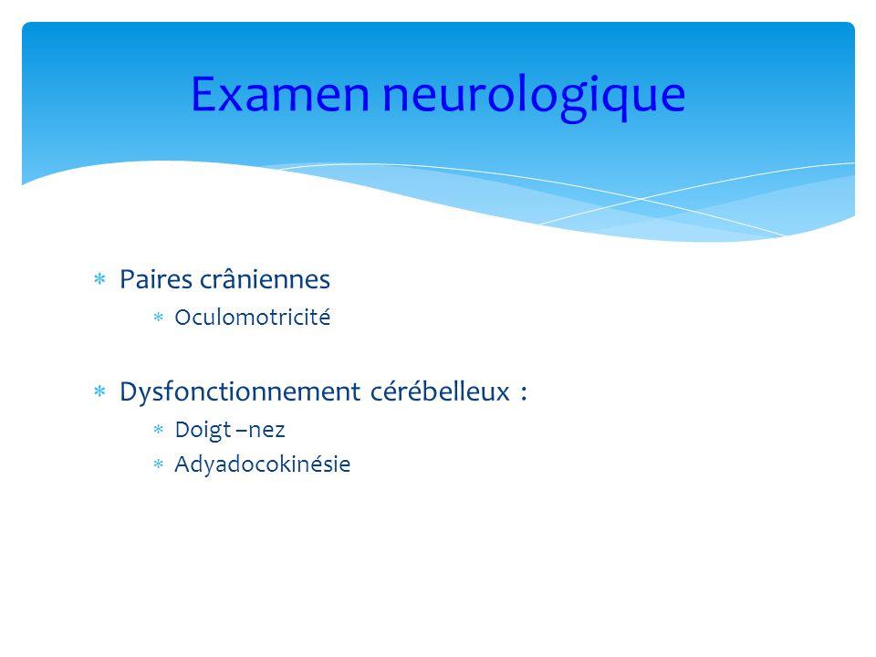 Paires crâniennes Oculomotricité Dysfonctionnement cérébelleux : Doigt –nez Adyadocokinésie Examen neurologique