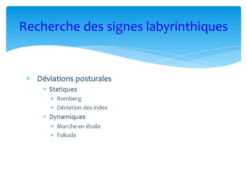 Déviations posturales Statiques Romberg Déviation des index Dynamiques Marche en étoile Fukuda Recherche des signes labyrinthiques