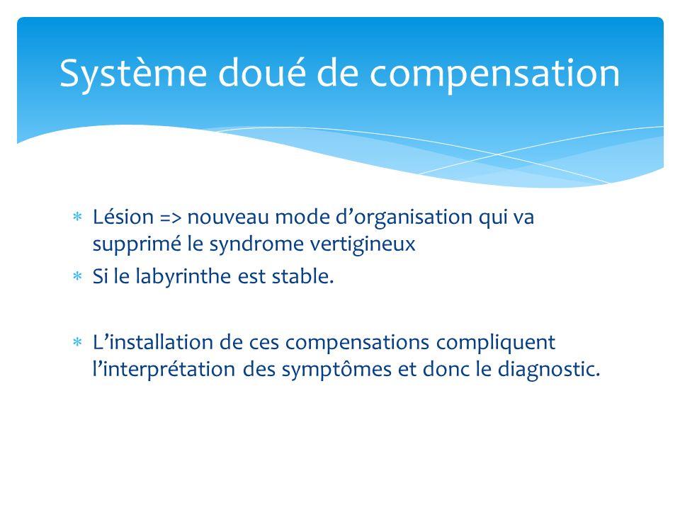 Lésion => nouveau mode dorganisation qui va supprimé le syndrome vertigineux Si le labyrinthe est stable. Linstallation de ces compensations complique