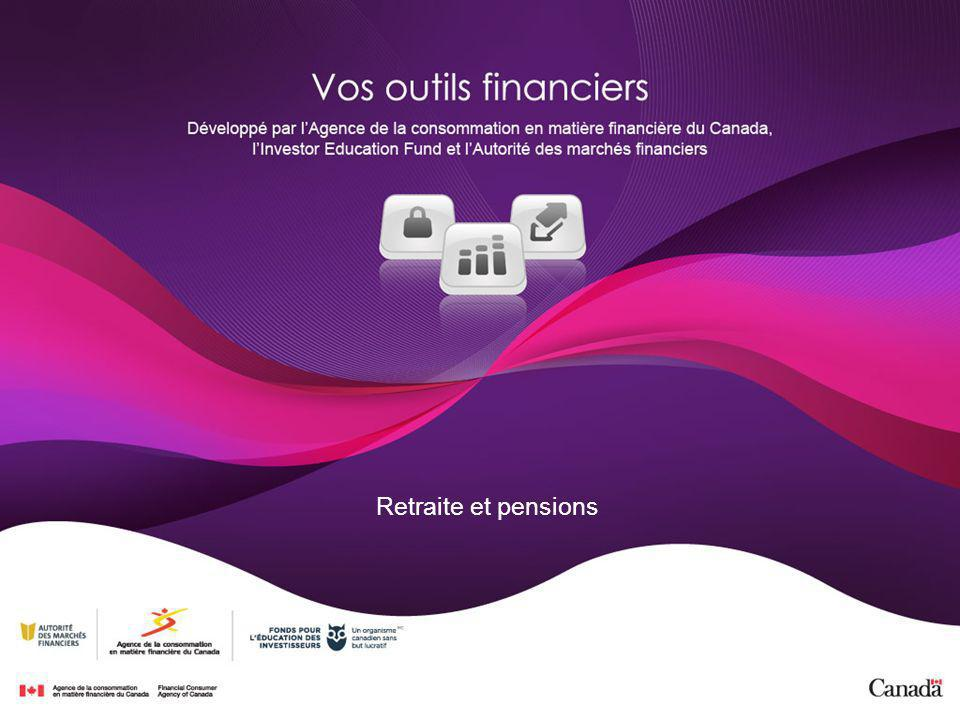 Programmes publics de revenu de retraite Régime de pensions du Canada (RPC) ou Régime de rentes du Québec (RRQ) Sécurité de la vieillesse (SV) Suppléments de revenu provinciaux ou territoriaux