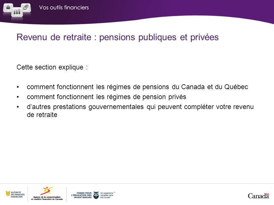 Revenu de retraite : pensions publiques et privées Cette section explique : comment fonctionnent les régimes de pensions du Canada et du Québec comment fonctionnent les régimes de pension privés dautres prestations gouvernementales qui peuvent compléter votre revenu de retraite