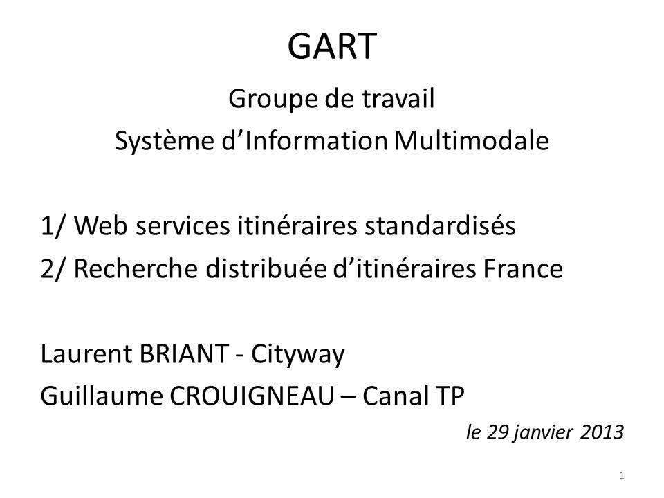 GART Groupe de travail Système dInformation Multimodale 1/ Web services itinéraires standardisés 2/ Recherche distribuée ditinéraires France Laurent B