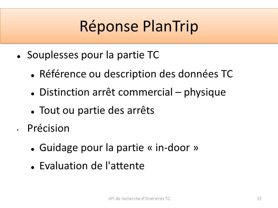 Réponse PlanTrip API de recherche d'itinéraires TC13 Souplesses pour la partie TC Référence ou description des données TC Distinction arrêt commercial