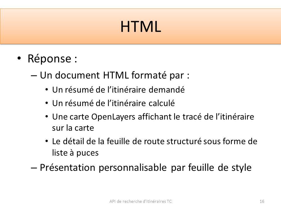 HTML API de recherche d'itinéraires TC16 Réponse : – Un document HTML formaté par : Un résumé de litinéraire demandé Un résumé de litinéraire calculé