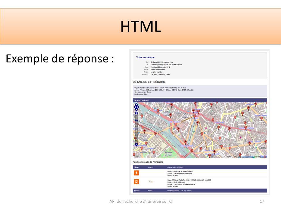 HTML API de recherche d'itinéraires TC17 Exemple de réponse :