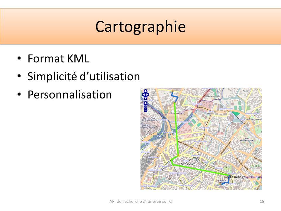 Cartographie API de recherche d'itinéraires TC18 Format KML Simplicité dutilisation Personnalisation
