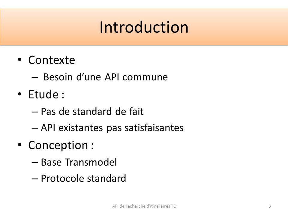 Introduction Contexte – Besoin dune API commune Etude : – Pas de standard de fait – API existantes pas satisfaisantes Conception : – Base Transmodel –