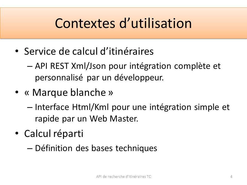 Définition de lAPI Deux méthodes : – SearchPoints – PlanTrip Plusieurs formats de sortie : – XML, JSON, HTML, KML Réponse basée sur un schéma XSD.