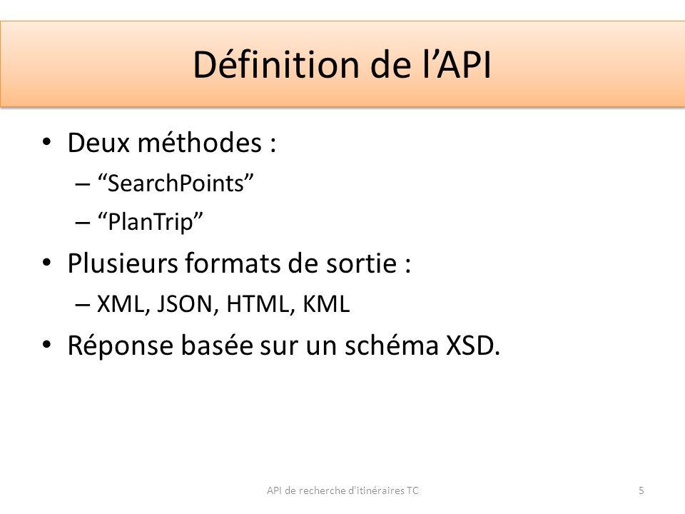 Définition de lAPI Deux méthodes : – SearchPoints – PlanTrip Plusieurs formats de sortie : – XML, JSON, HTML, KML Réponse basée sur un schéma XSD. API