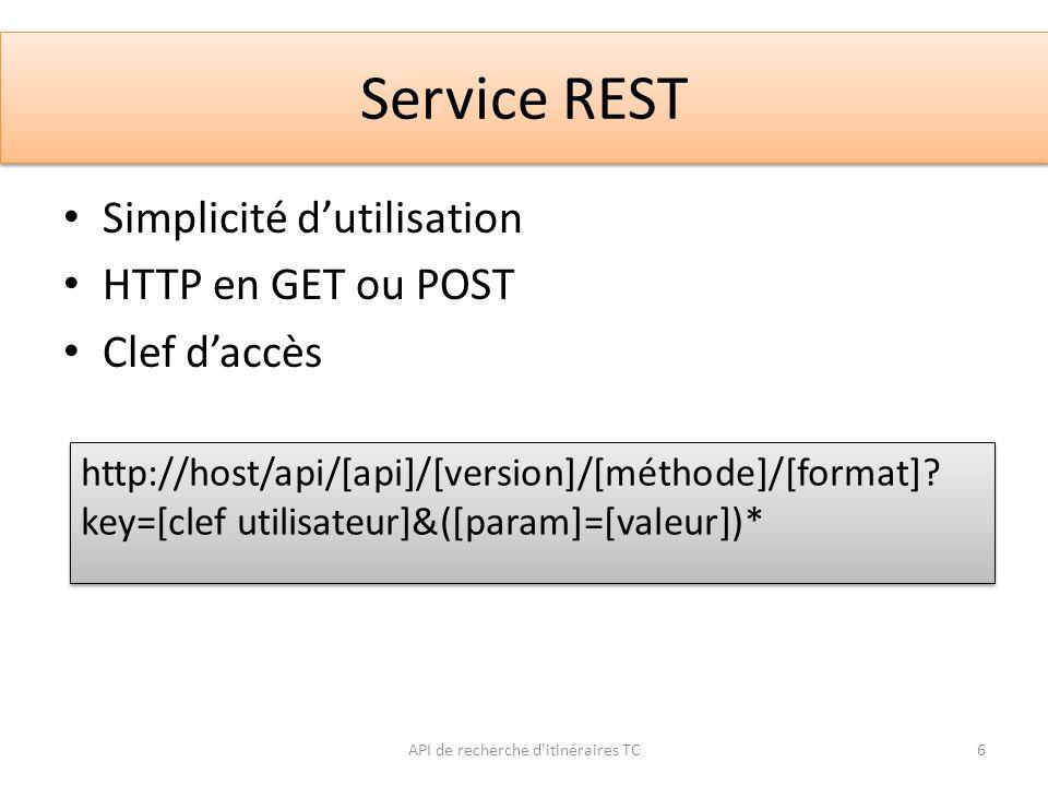 Service REST Simplicité dutilisation HTTP en GET ou POST Clef daccès API de recherche d'itinéraires TC6 http://host/api/[api]/[version]/[méthode]/[for