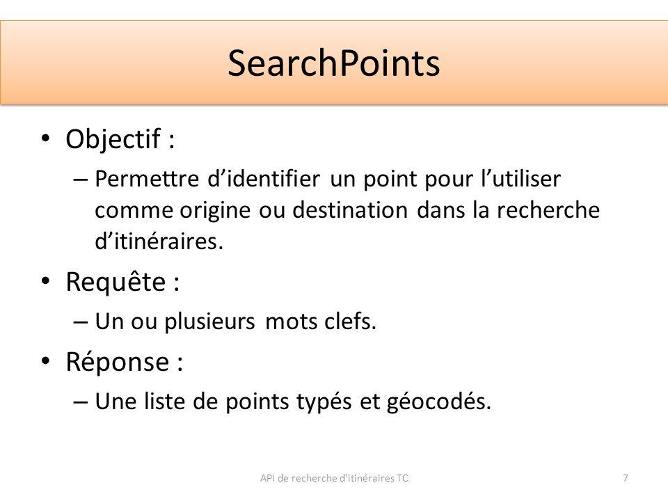 SearchPoints API de recherche d'itinéraires TC7 Objectif : – Permettre didentifier un point pour lutiliser comme origine ou destination dans la recher