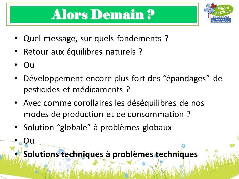 Alors Demain ? Quel message, sur quels fondements ? Retour aux équilibres naturels ? Ou Développement encore plus fort des épandages de pesticides et