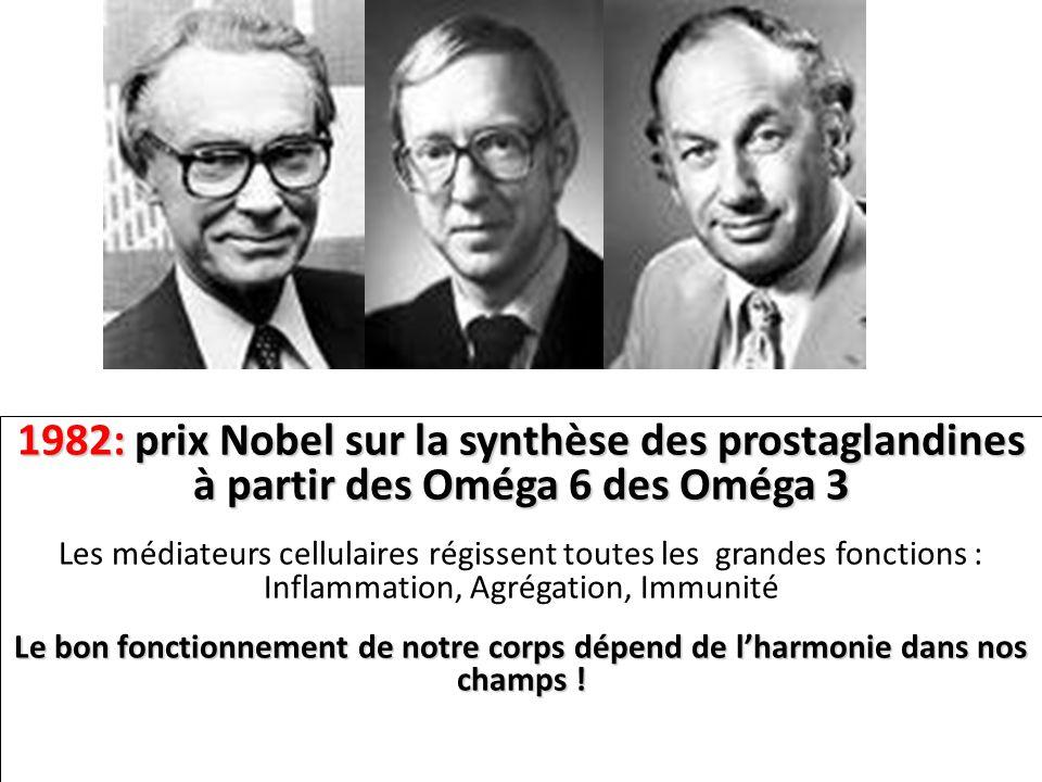 1982: prix Nobel sur la synthèse des prostaglandines à partir des Oméga 6 des Oméga 3 Les médiateurs cellulaires régissent toutes les grandes fonction