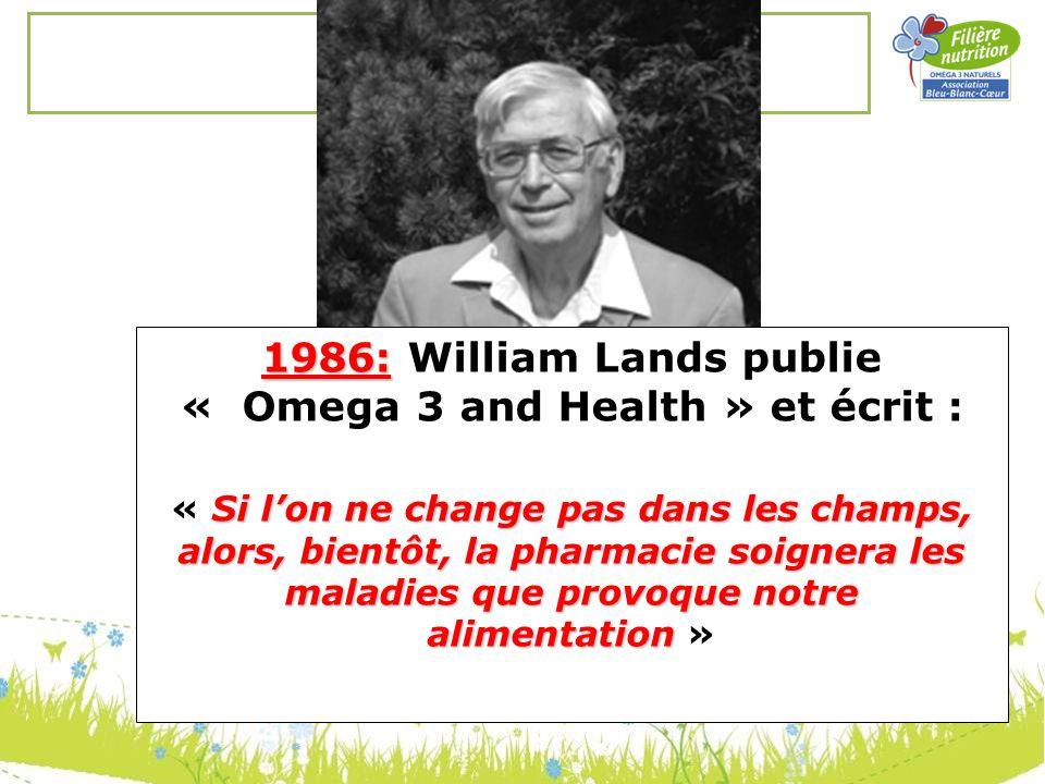 1986: 1986: William Lands publie « Omega 3 and Health » et écrit : Si lon ne change pas dans les champs, alors, bientôt, la pharmacie soignera les mal