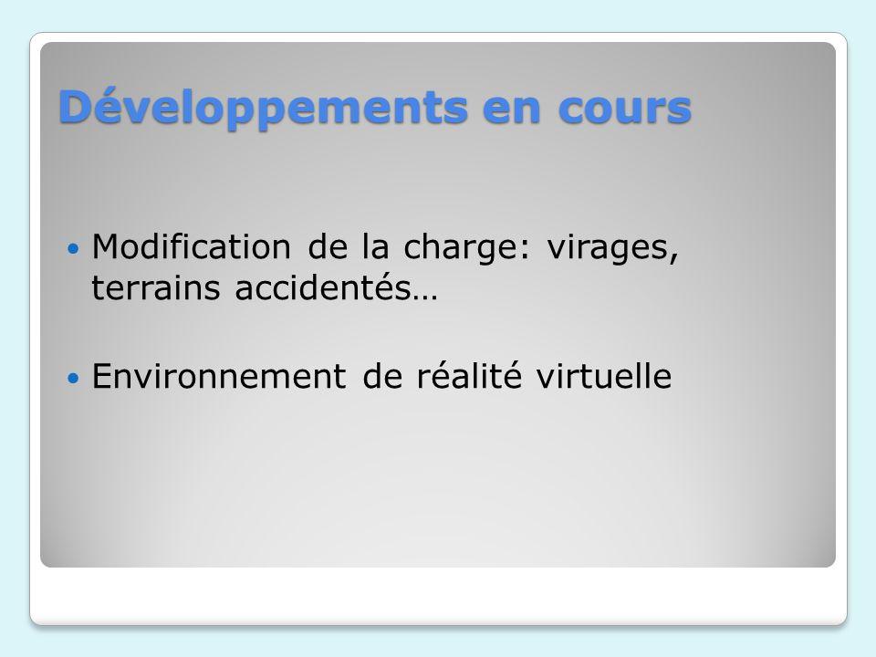Développements en cours Modification de la charge: virages, terrains accidentés… Environnement de réalité virtuelle