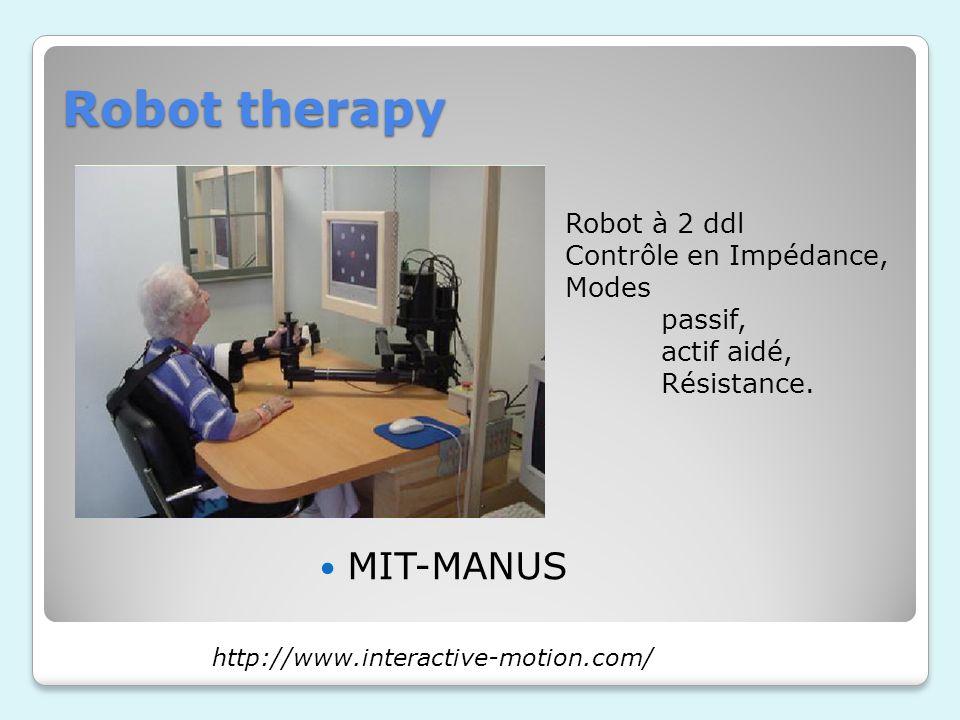 Robot therapy MIT-MANUS http://www.interactive-motion.com/ Robot à 2 ddl Contrôle en Impédance, Modes passif, actif aidé, Résistance.