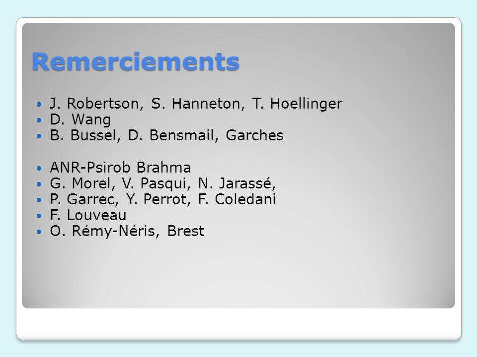 Remerciements J.Robertson, S. Hanneton, T. Hoellinger D.