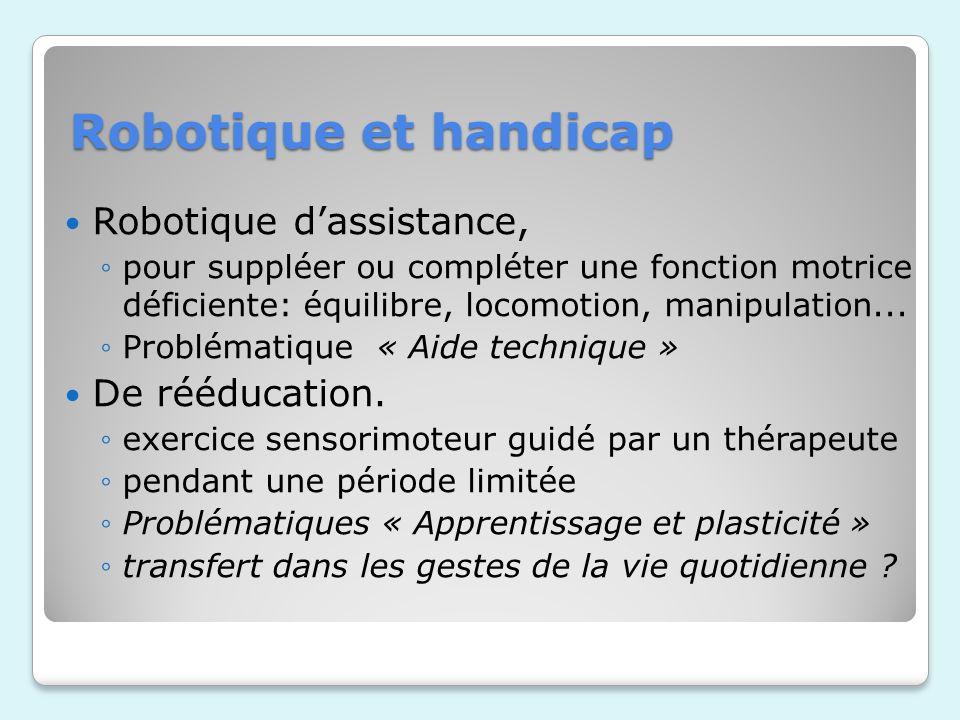 Robotique et handicap Robotique dassistance, pour suppléer ou compléter une fonction motrice déficiente: équilibre, locomotion, manipulation...