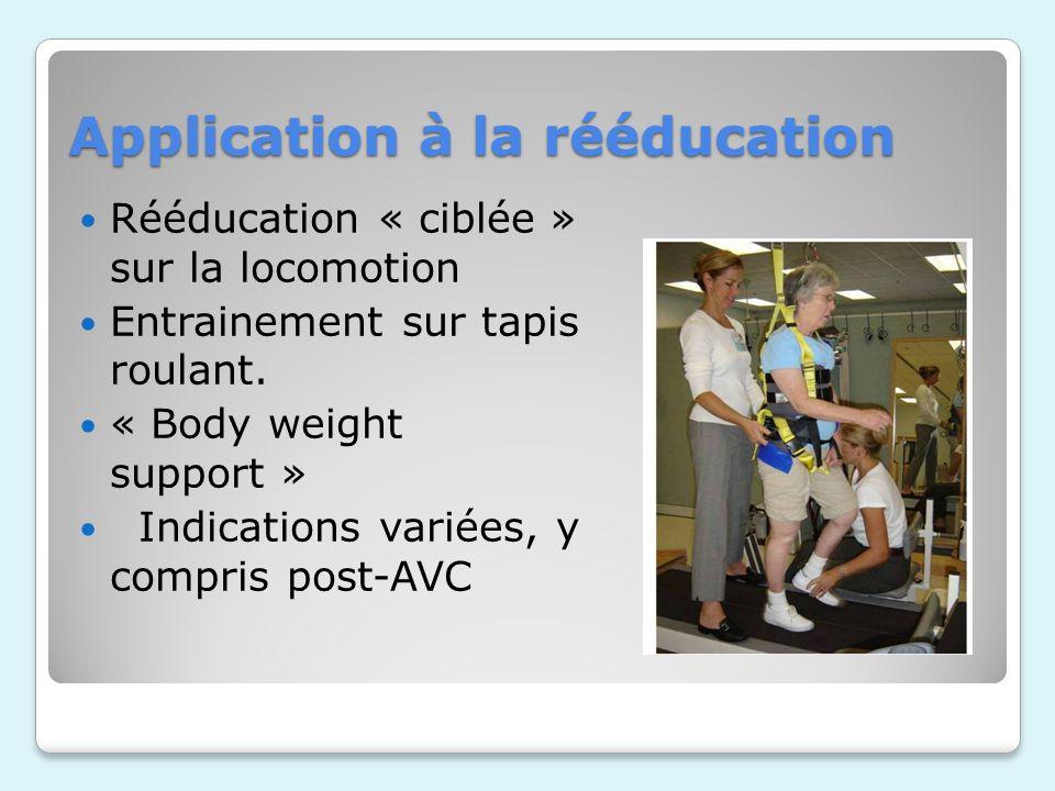 Application à la rééducation Rééducation « ciblée » sur la locomotion Entrainement sur tapis roulant.
