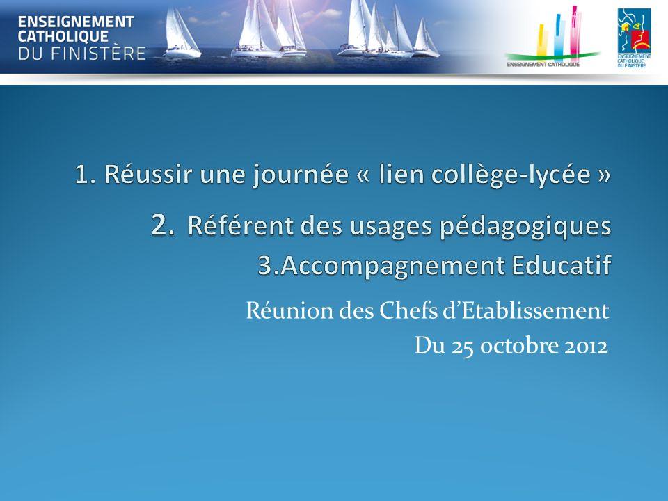 Réunion des Chefs dEtablissement Du 25 octobre 2012
