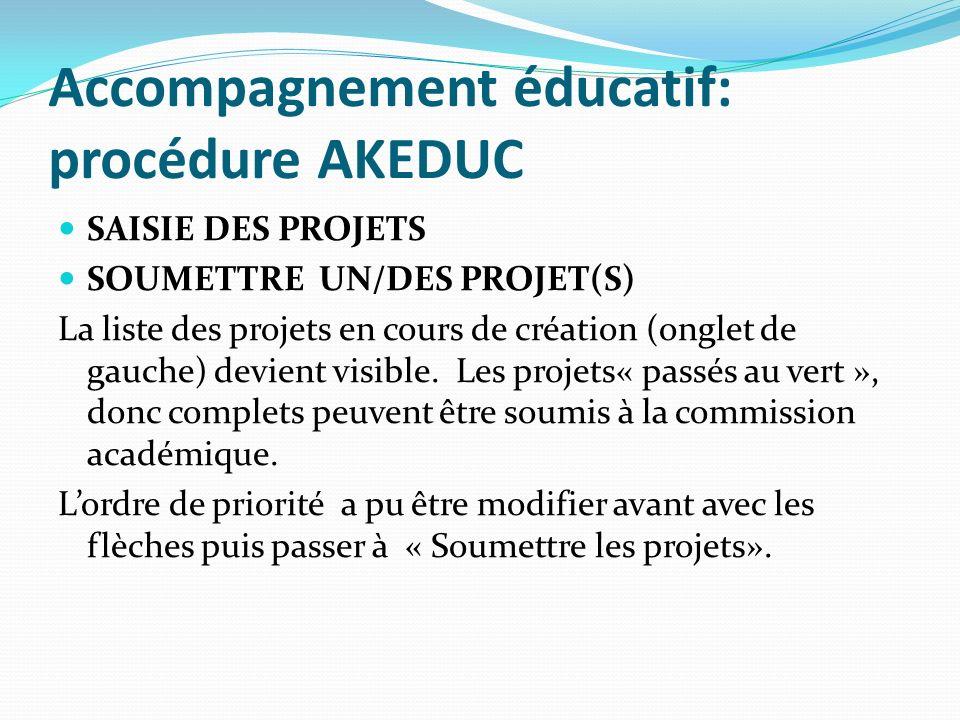 Accompagnement éducatif: procédure AKEDUC SAISIE DES PROJETS SOUMETTRE UN/DES PROJET(S) La liste des projets en cours de création (onglet de gauche) devient visible.