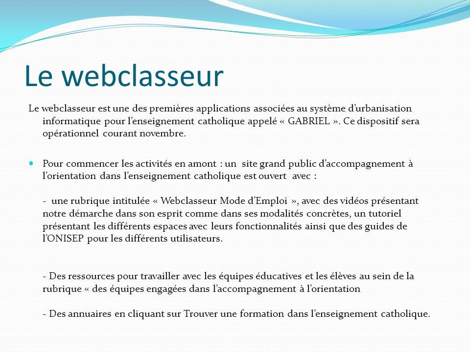 Le webclasseur Le webclasseur est une des premières applications associées au système durbanisation informatique pour lenseignement catholique appelé « GABRIEL ».