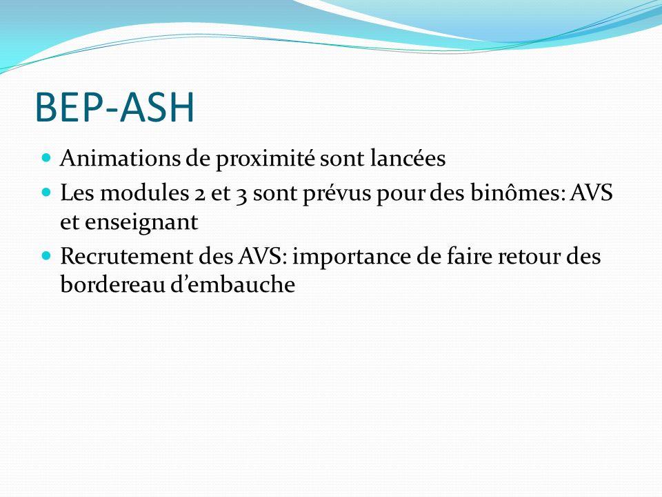 BEP-ASH Animations de proximité sont lancées Les modules 2 et 3 sont prévus pour des binômes: AVS et enseignant Recrutement des AVS: importance de faire retour des bordereau dembauche