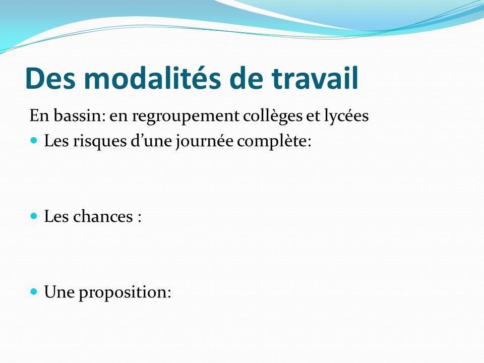 Des modalités de travail En bassin: en regroupement collèges et lycées Les risques dune journée complète: Les chances : Une proposition: